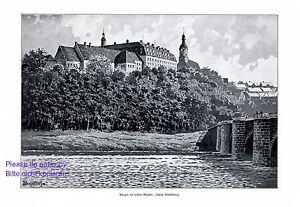 Schloss Wechselburg XL Kunstdruck 1910 Bahndorf Mulda Rochsburg