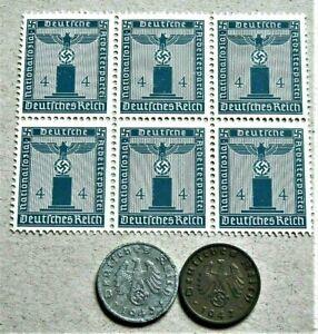 WW2-GERMANY-ORIGINAL-3rdREICH-ERA-BLOCK-OF-6-OFFICIAL-STAMPS-2-REICHSPF-4