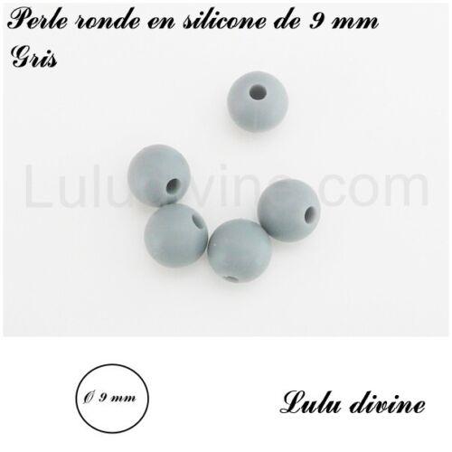 Perle ronde en silicone de 9 mm lot de 10 perles Gris