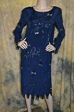 vtg 80s 90s FLAPPER navy blue beaded sequin SILK TROPHY midi dress M 8