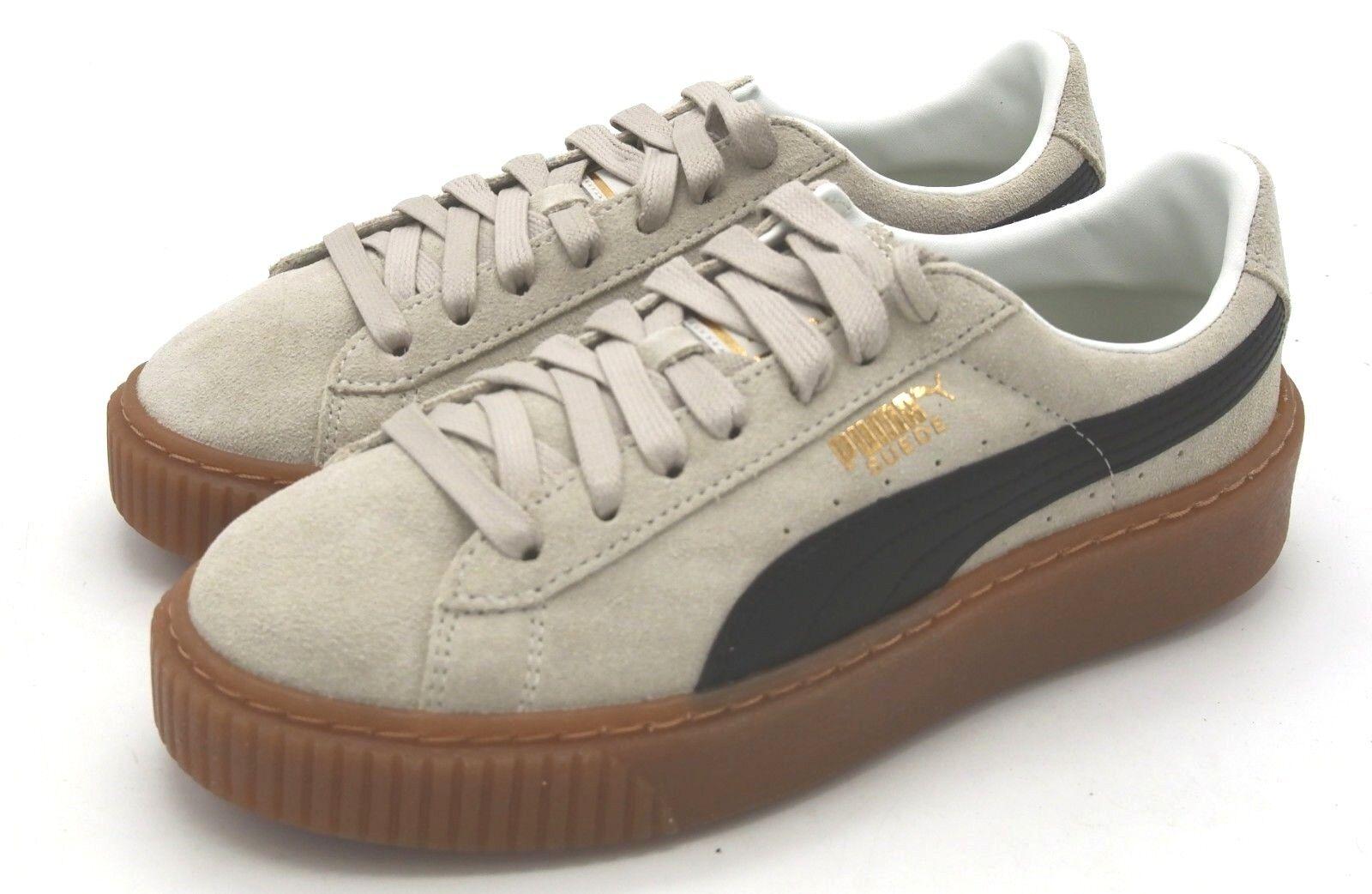 New Women's Puma Suede Platform Core Whisper White Puma Black Sneaker 10 M