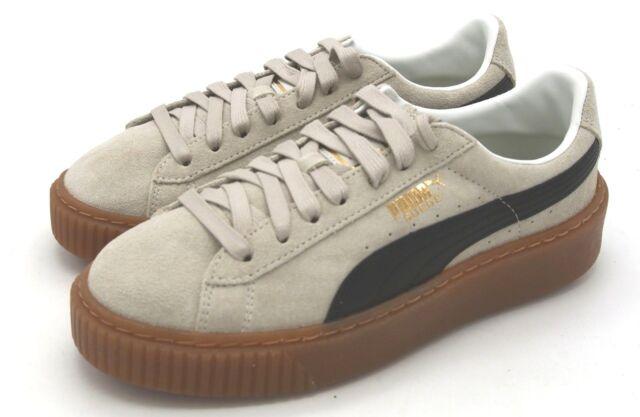 99f5bc8814e853 New Women s Puma Suede Platform Core Whisper White Puma Black Sneaker 7 M