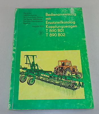 Operating Instructions Parts Catalog Kopplungswagen T 890 B01/t890 B02 Stand To Win Warm Praise From Customers Farming & Agriculture