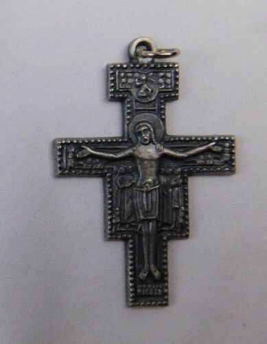 Vintage Early Italy Odd Shaped Crucifix Silver Christian Religious Medal J5