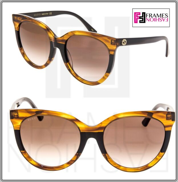 fd77d344a3570 GUCCI Square Oversized GG0179S Black Brown Tortoise Stripe Logo Sunglasses  0179