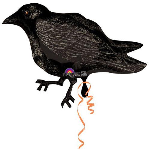 CROW RAVEN HALLOWEEN FOIL BALLOON PARTY DECORATION BLACK BIRD GRAVEYARD 85CM