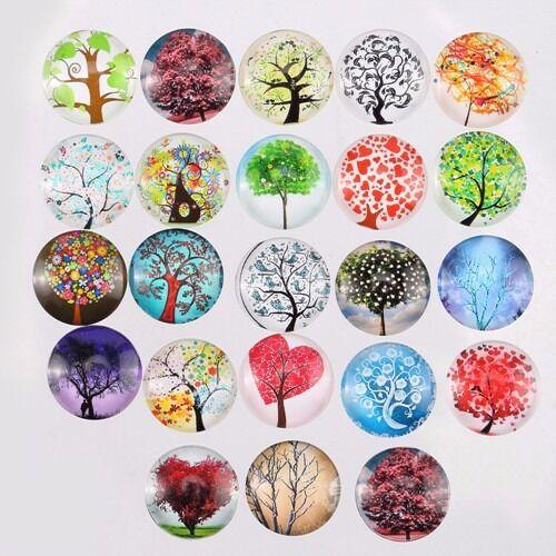 10PCS 2 cm cabochon en verre ronde patch Life Tree Dome Flat Back Cover Wisdom Tree