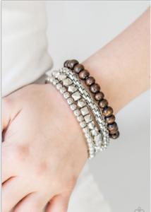 New Paparazzi Retro Rocker Silver Stretch Bracelet Ebay