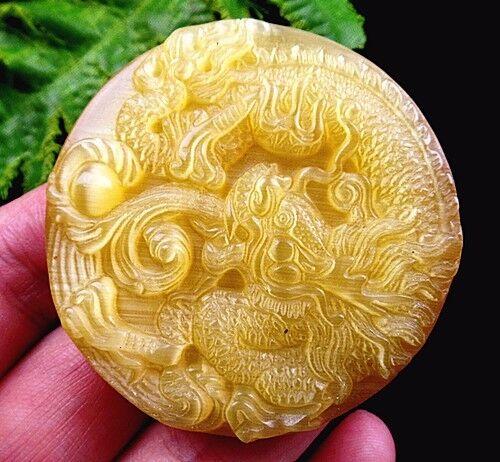 51x9mm yellow cat eye gemstone carved dragon pendant bead K29180