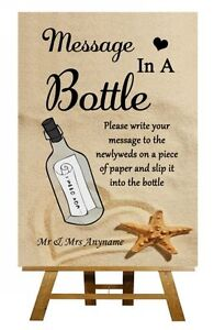 Beach Sand Message In A Bottle Personalised Wedding Sign / Poster | eBay