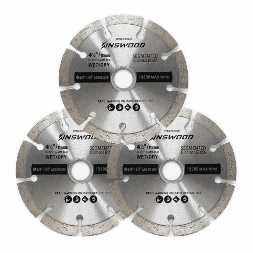 "Kinswood 3PCS Circular Saw Blade Segmented Dry Cut Universal Fit 4/"" 1//2/"""