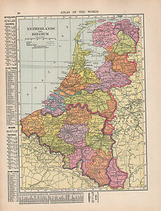 1909 MAP ~ NETHERLANDS & BELGIUM HOLLAND WITH PROVINCES CITIES-TOWNS ...