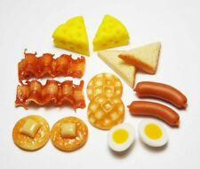 14 Mixed Dollhouse Miniature Food*Doll Mini Bakery Breakfast Pancake Bacon Toast
