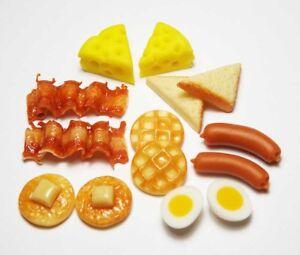 14-Mixed-Dollhouse-Miniature-Food-Doll-Mini-Bakery-Breakfast-Pancake-Bacon-Toast