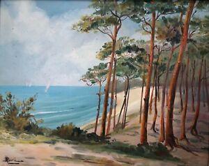 HUILE-SUR-PANNEAU-MARCEL-BORE-SAINT-PIERRE-QUIBERON-BORD-DE-PLAGE-1950-C1590
