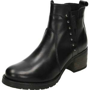 42c6daba33c02 Carmela Leather Ankle Low Heeled Chelsea Boots Black Biker Studded ...
