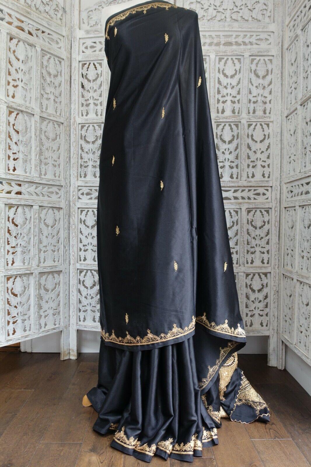Black crepe silk vintage wedding saree Bollywood Indian + blouse SKU17592