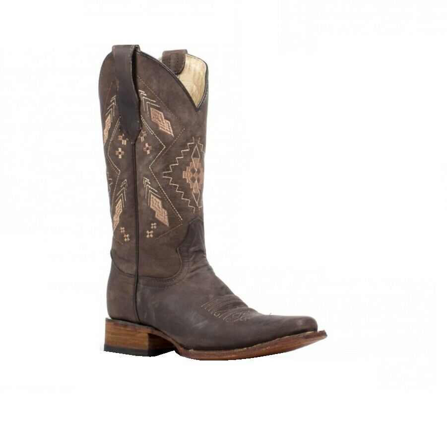 Circle G By Corral Women's Embroidery Leather Square Toe Boots Chocolate L5291