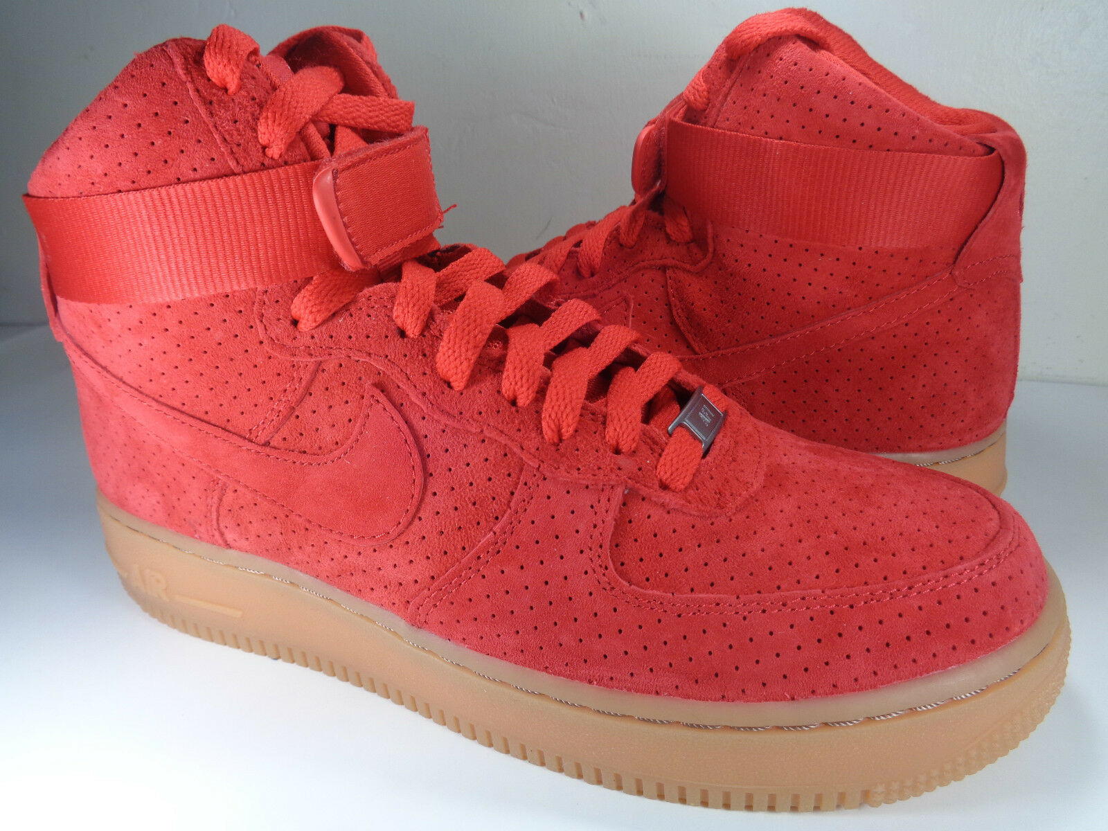 Womens Nike Air Force 1 Hi Suede University Red Gum SZ 10 (749266-601)