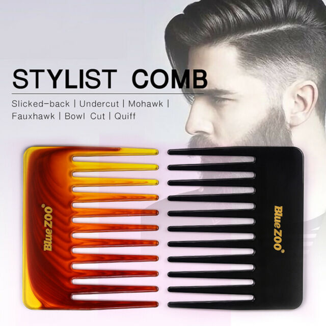 Plastic Men's Hair Comb Wide Tooth Comb Hair Fork Brush Salon Styling Tool