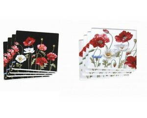 New-4pc-Poppies-Flowers-Coaster-Set-Drink-Coasters-Ceremic-Chinaware-Gift-4-039-039