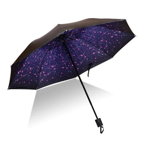 Damen Regenschirm Taschenschirm Sonnenhimmel Faltbar Kompakt AntiUV Regen Schirm