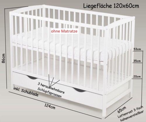 Babybett Gitterbett Kinderbett Schublade 120 x 60 cm Weiß Massivholz Neu