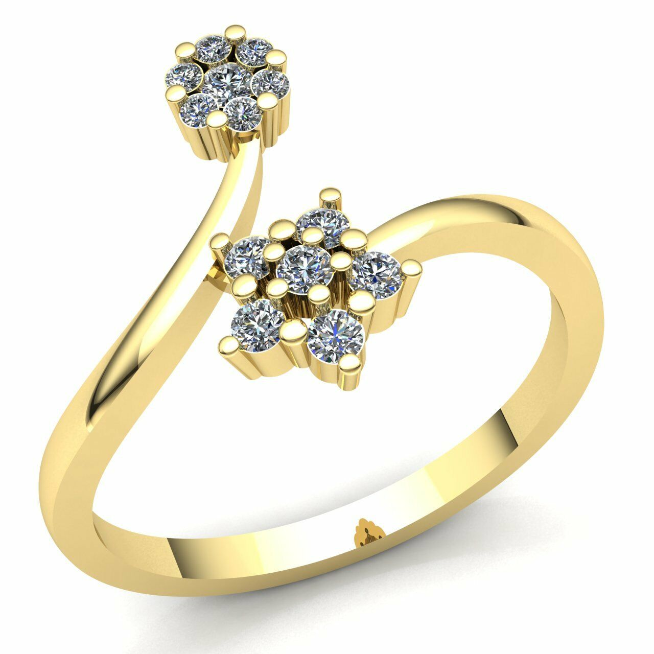 Genuine 1ct Round Cut Diamond Ladies Twisted Flower Engagement Ring 14K gold