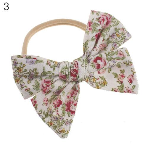 Blumenmuster Große Schleife Baby Mädchen Haarband Weich Elastisch Stirnband