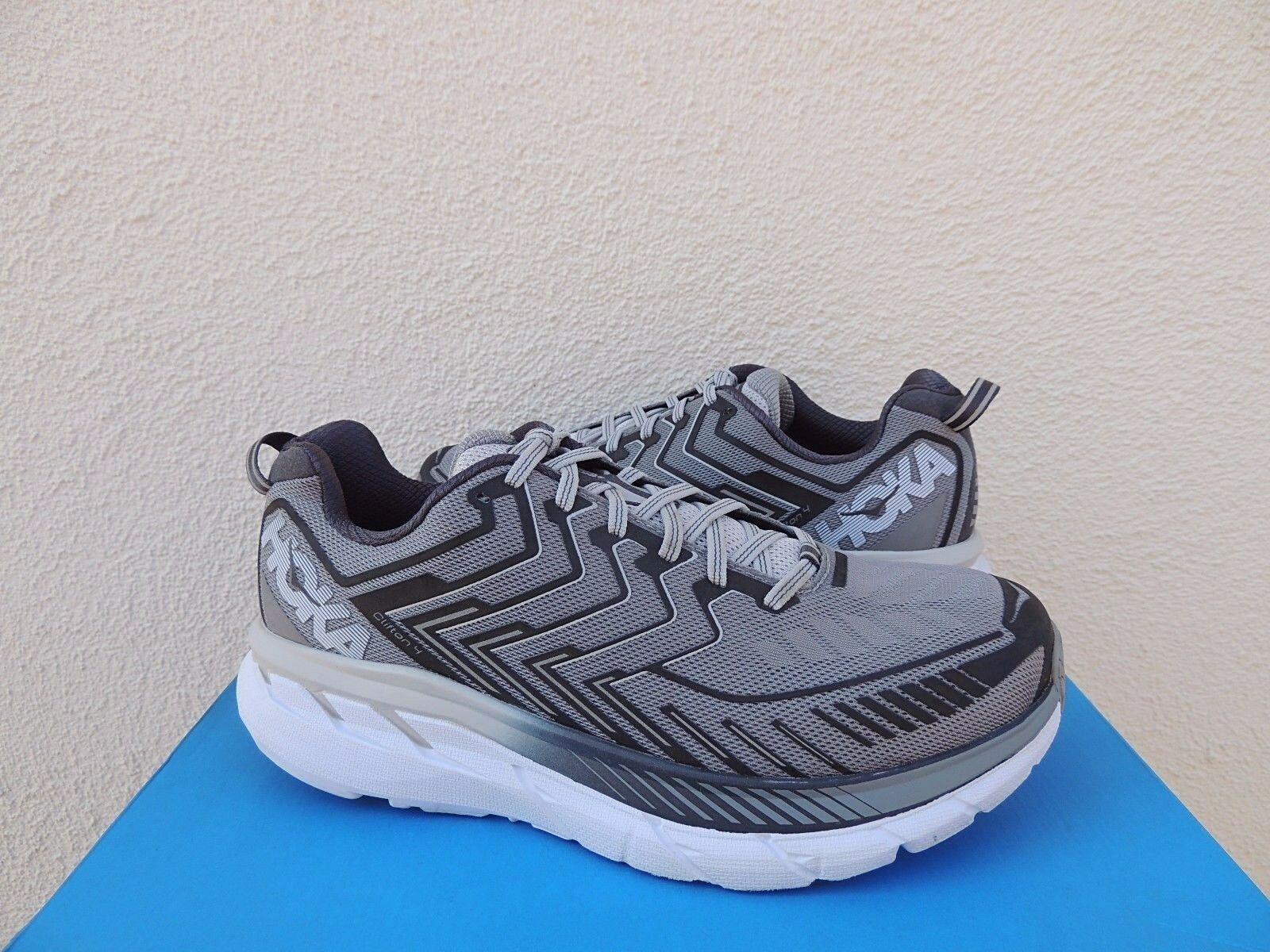 HOKA ONE ONE CLIFTON 4 WIDE GRIFFIN grau RUNNING schuhe, MEN US 8.5 E  EUR 42 NEW