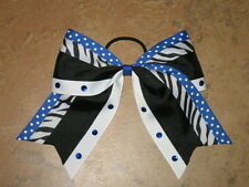 "NEW ""ZEBRA DOTS BLING BLUE"" Cheer Bow Pony Tail 3 Inch Ribbon Girls Cheerleading"