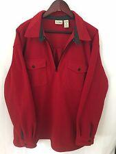 LL BEAN MENS FLEECE Sweatshirt Jacket 1/2 ZIP PULLOVER RED LARGE Double Pockets