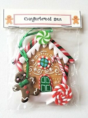 Gingerbread Christmas Tree.Gingerbread House Man Christmas Tree Decoration Polymer Clay Candy Cane Lollypop Ebay
