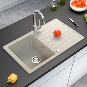 BERGSTROEM Évier de cuisine en granit encastré réversible 765x460 ...
