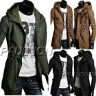 Mens Slim Fit Zip Hooded Jacket Coat Military Style Casual Overcoat Outwear Tops