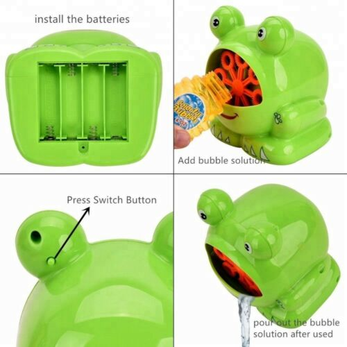Kids Bubble Machine Bubble Blower ToyFrog Bubbles 3 Bubble Solution included