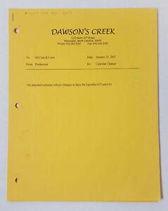 DAWSON-039-S-CREEK-set-used-paperwork-PRODUCTION-CALENDAR-Aug-2002-Apr-2003-memo