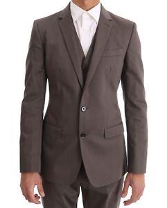 New $2200 Dolce & Gabbana Suit Beige Cotton Slim Fit Two Button Eu46 / Us36 / S Pure Blancheur