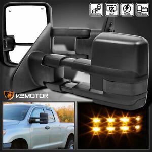 For 2007-2017 Tundra Power Heated Black Tow Mirrors+Smoke LED Signal Lights+BSM