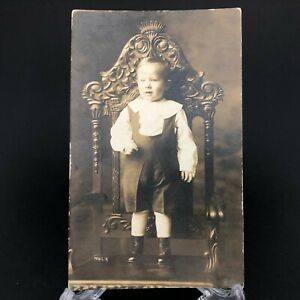 Antique-Early-RPPC-Vintage-Postcard-Child-Portrait-Heavy-Carved-Chair-Furniture