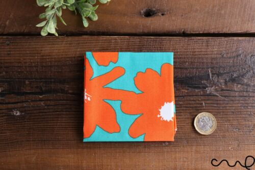 Handmade Unisex Pocket Square Cotton Handkerchief Orange Retro Floral Wedding P