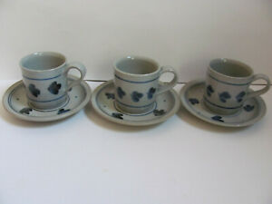 Iron Mountain Martha's Flowers-Blue Flowers & Rings- 3 Cups & Saucers-Imperfect