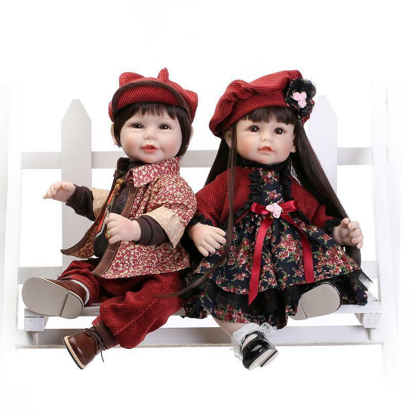 HOT 2Pcs likelife Bambino 22  RINATO Baby Boy Girl Doll in silicone VINILE Giocattolo UK