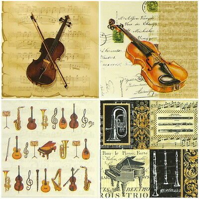 4x Single Table Party Paper Napkins for Decoupage Decopatch Vintage Music violin