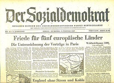 Der Sozialdemokrat Vom 11.2.1947 Vintage German Newspaper Ein Unbestimmt Neues Erscheinungsbild GewäHrleisten nachkriegszeit