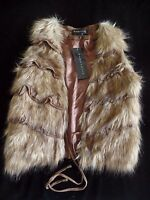 Womens Size Small Brown 'hairy' Vest Bagatelle Ties On Front Gift Idea