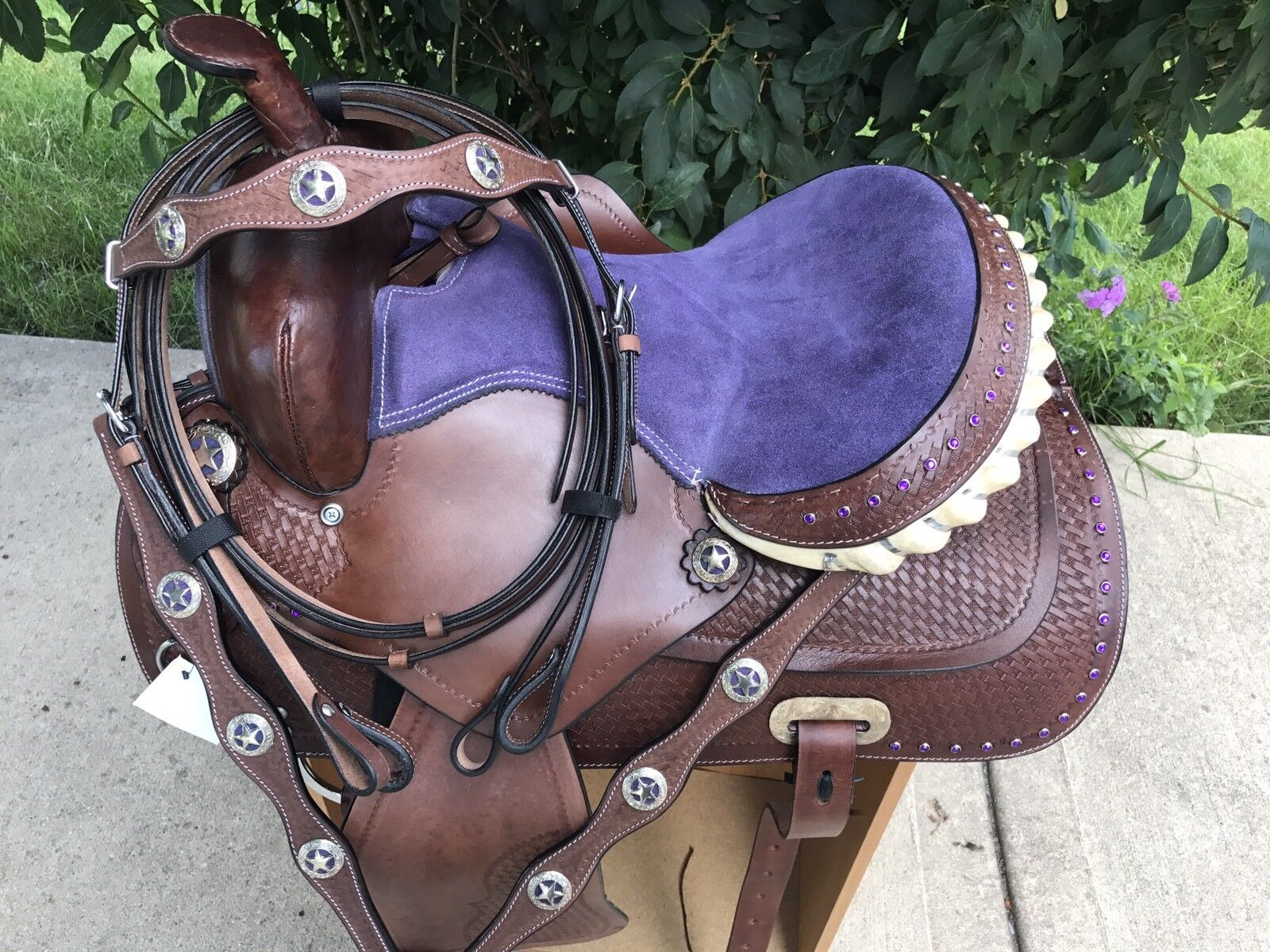 13  púrpura Bling medio oscuro aceite Western PONY Trail barril Racer Saddle 4pc Set