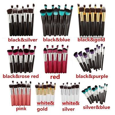 Lot 10pcs Toiletry Kit Brushes Women Make Up Brush Set Foundation Necessary Well