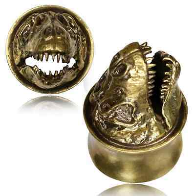 PAIR ANTIQUED T-REX DINOSAUR SKULL TUNNELS PLUGS TRIBAL GAUGES TUNNEL PLUG GAUGE