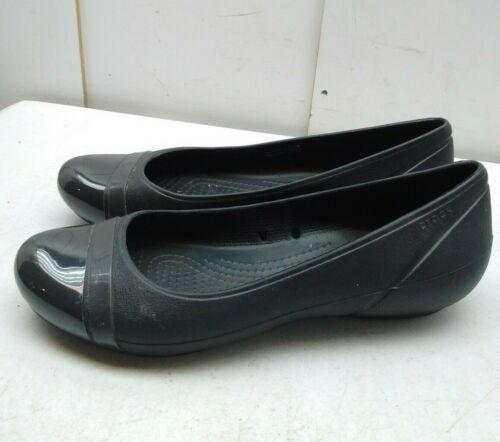 Crocs Black Rubber Slip On Ballet Flats Cap Toe Pump Casual Women/'s Shoes 7 M 38